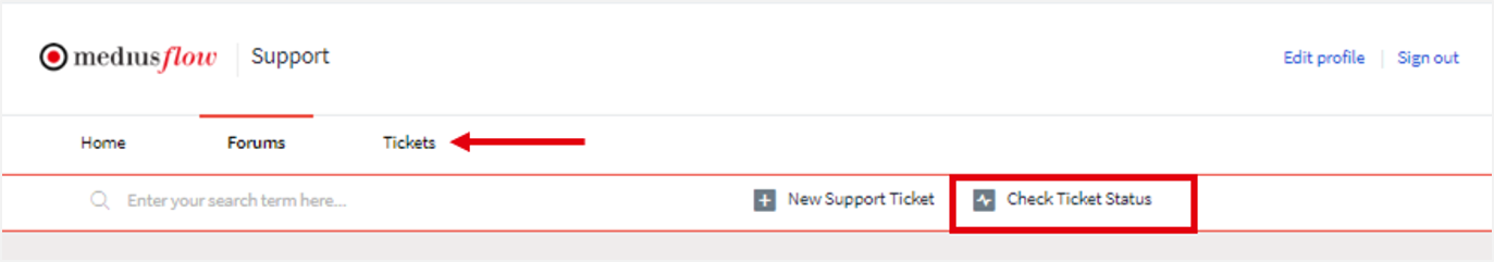 support portal view ticket status